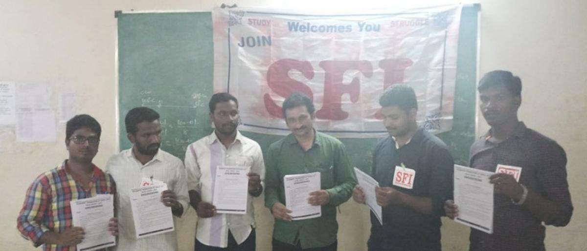 SFI conducts model test for Eamcet, Neet