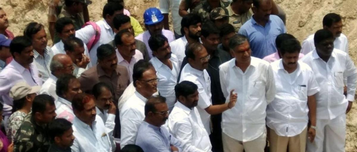Harish inspects works of SRSP irrigation projects in Suryapet
