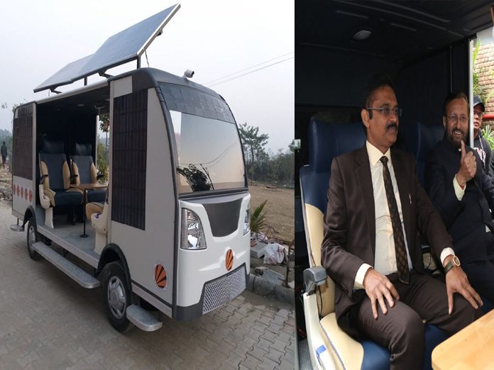 Javadekar takes ride in India's first driverless solar-powered bus