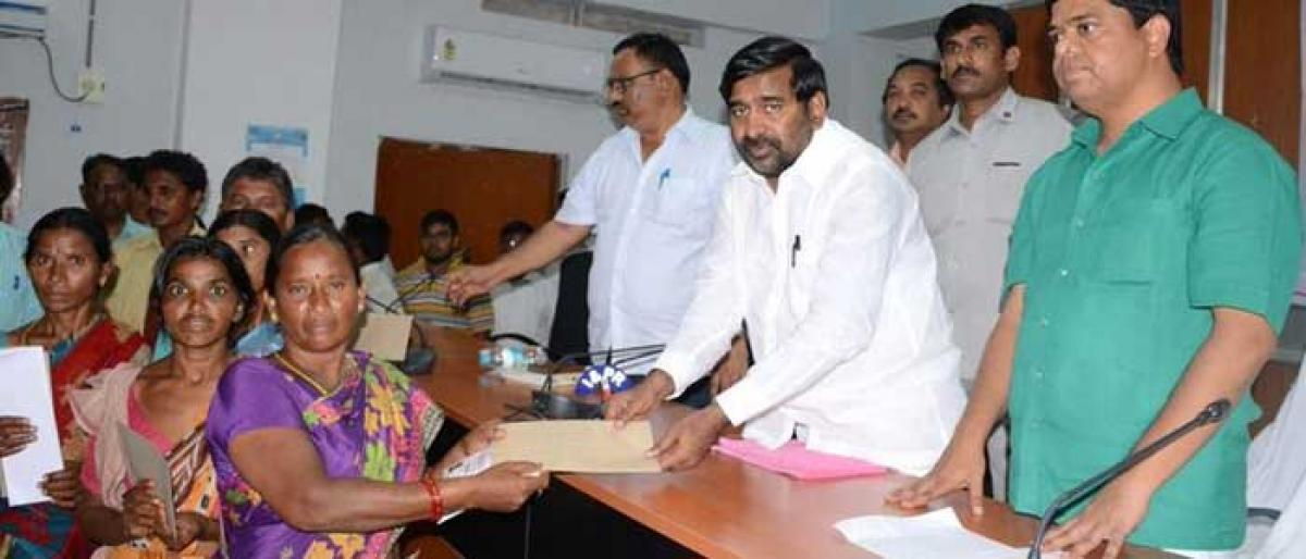 Cheques distributed to Kalyana Lakshmi beneficiaries