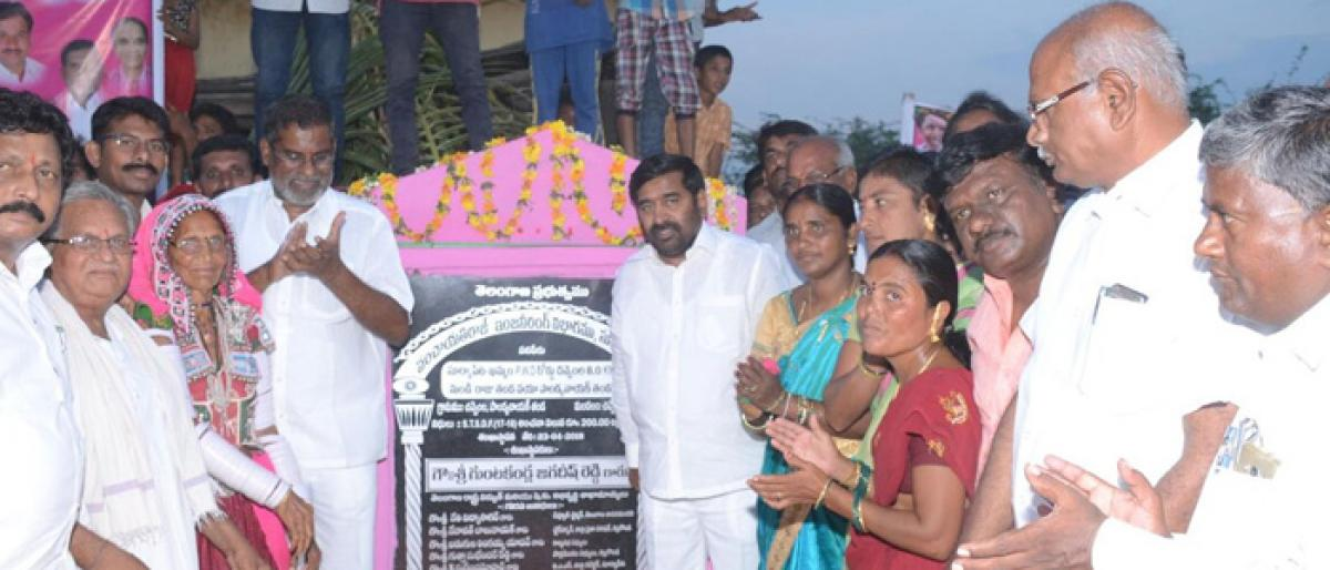 Minister Jagadish Reddy lays foundation of BT roads at Chivemla