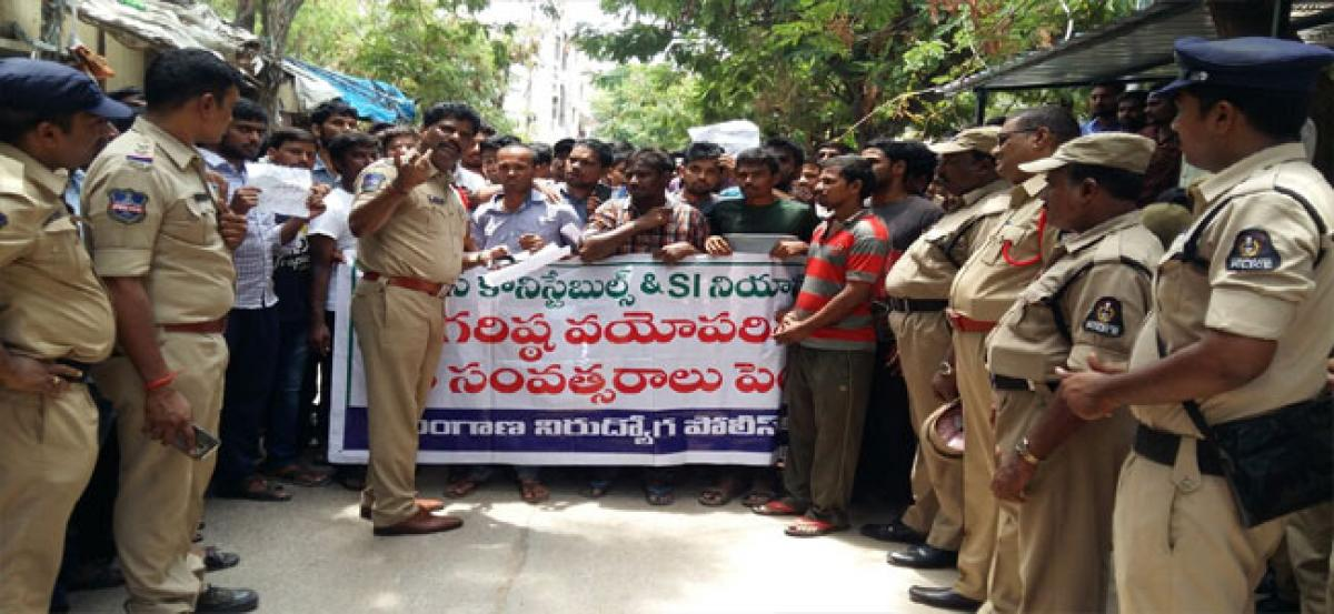 TNP stages dharna for age relaxation in police recruitment