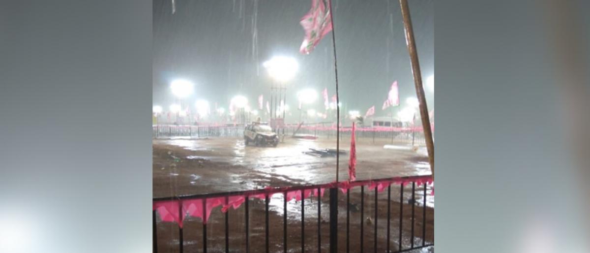 Heavy rain lashes TRS Pragathi Nivedana Sabha venue
