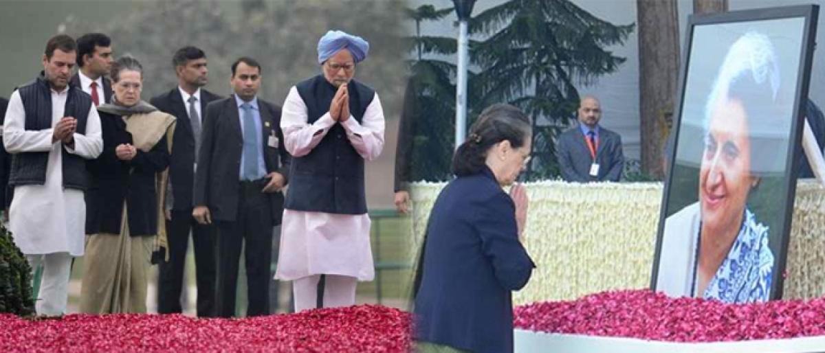 Leaders pay tributes to Indira Gandhi on birth anniversary