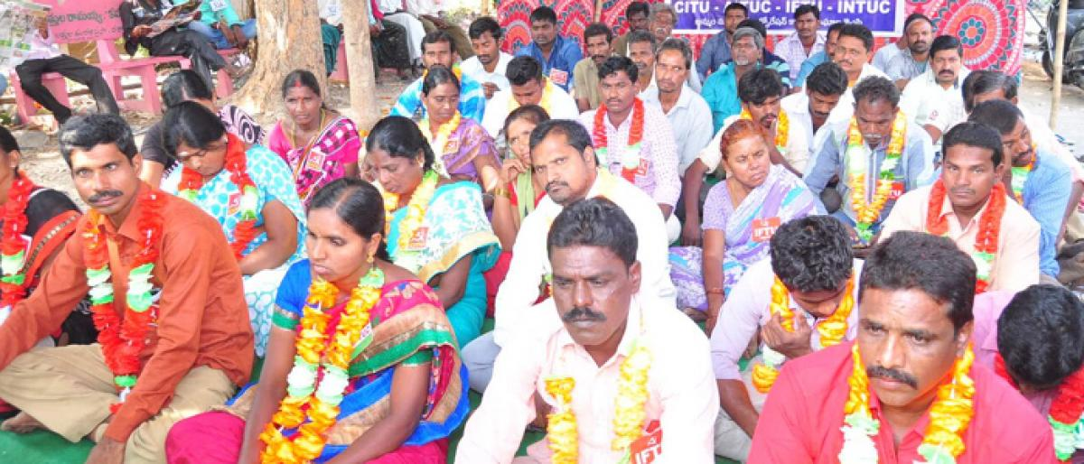 Khammam Workers unions demand salary hike