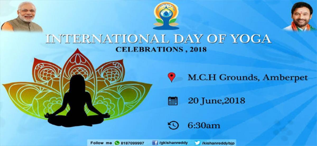 International Yoga day celebrations at Amberpet