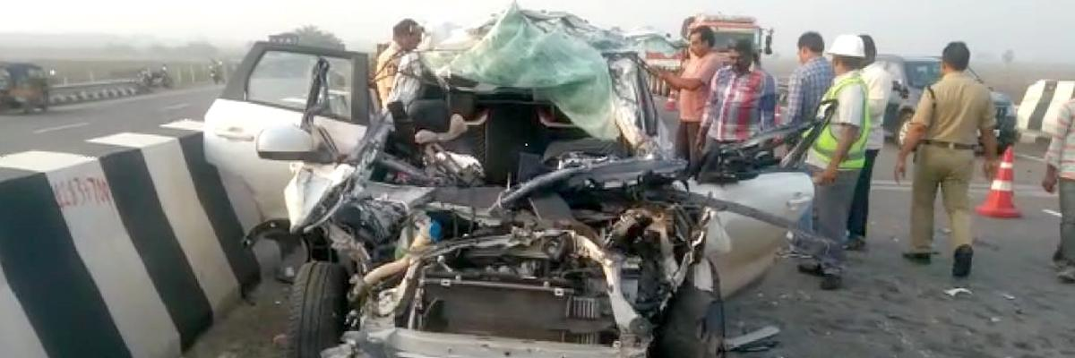Car collided with lorry: Three Ayyappa devotees killed on the spot