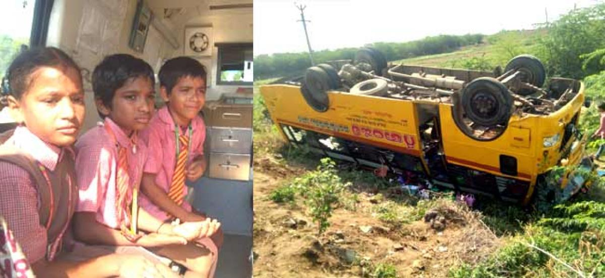 Major mishap averted when a school bus overturned near Podili