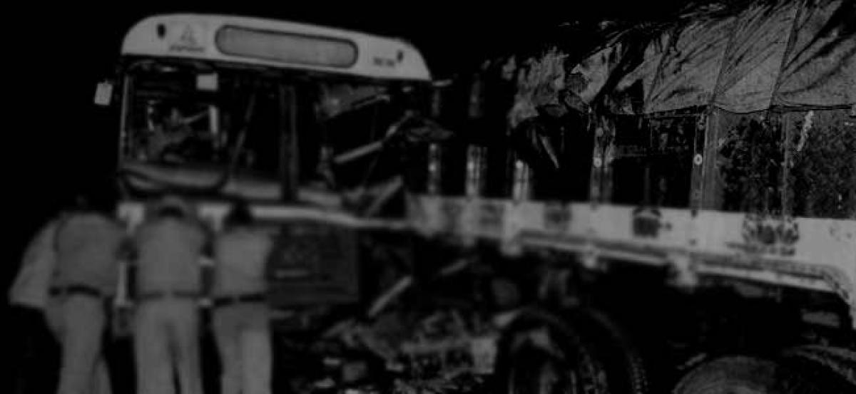 RTC bus hits stationary truck, 17 hurt
