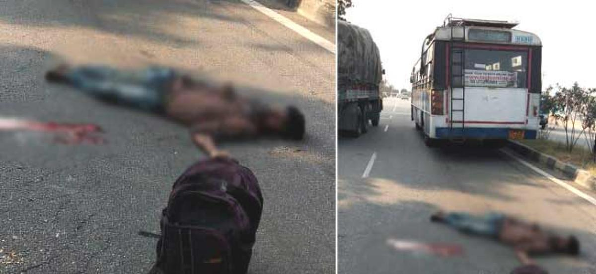A youngster killed in bus accident at Shamirpet
