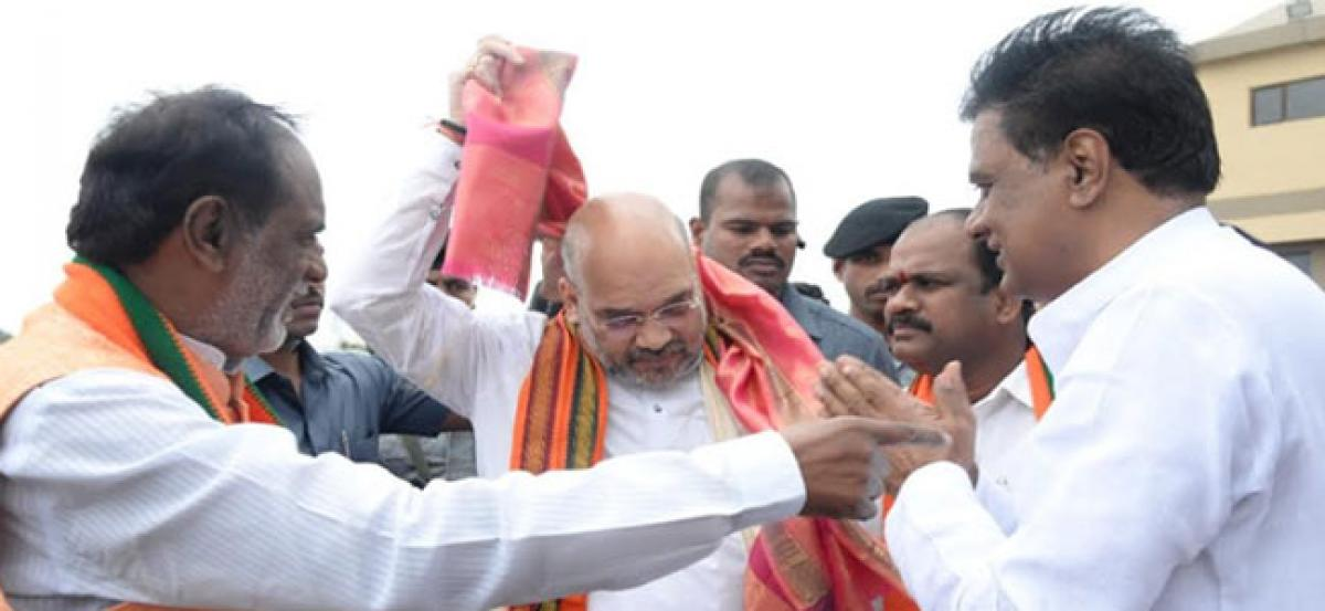 Amit Shah meetings at the State party headquarters in Nampally