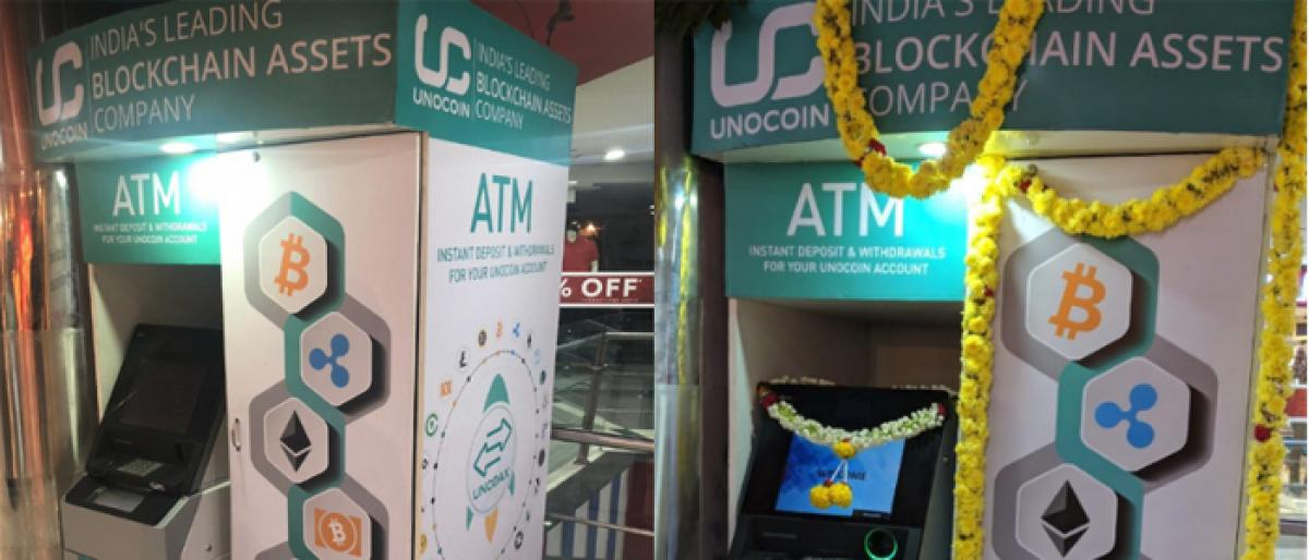 """Kiosk"" a cryptocurrency ATM launched by Unocoin in Bangalore."