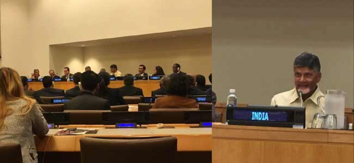 CM Chandrababu Naidu at UNEP on Tuesday in New York in USA.