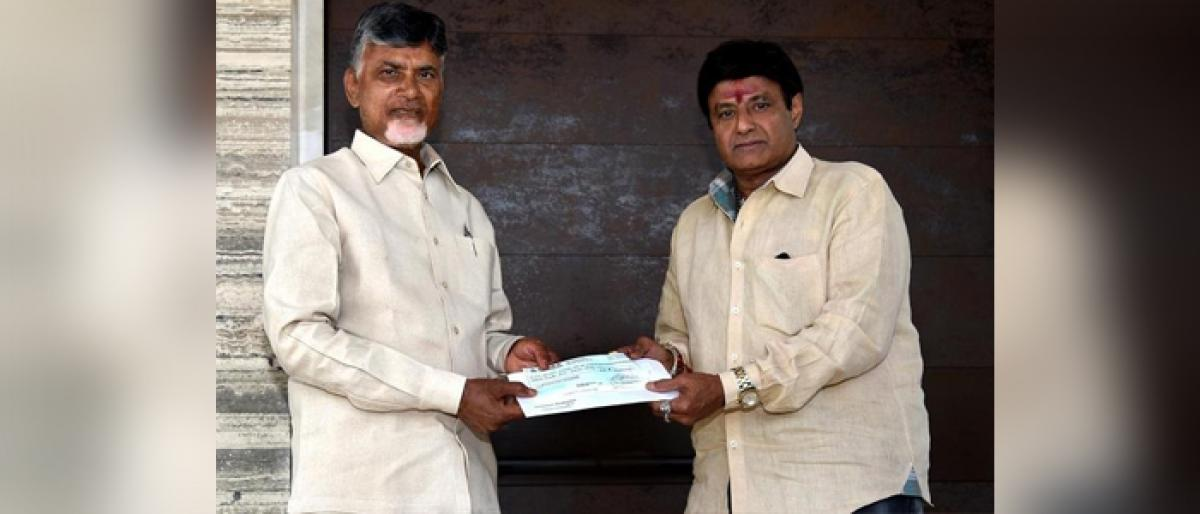Balakrishna donates Rs 25 lakh to cyclone Titli relief