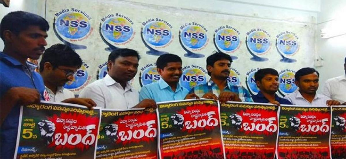 Student organisations call for shut down of schools across Hyderabad over fee hike
