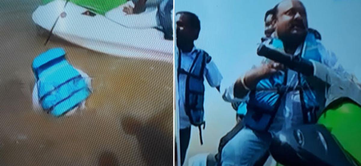 Former Karimnagar MLA Gangula Kamalakar escapes boat mishap