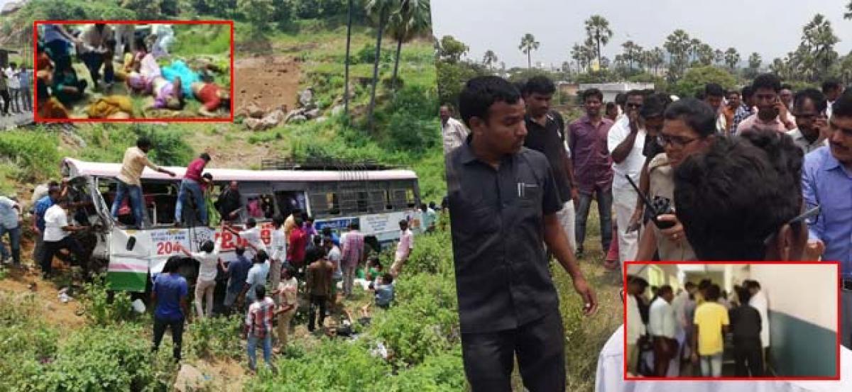 28 killed as bus falls into valley in Telangana