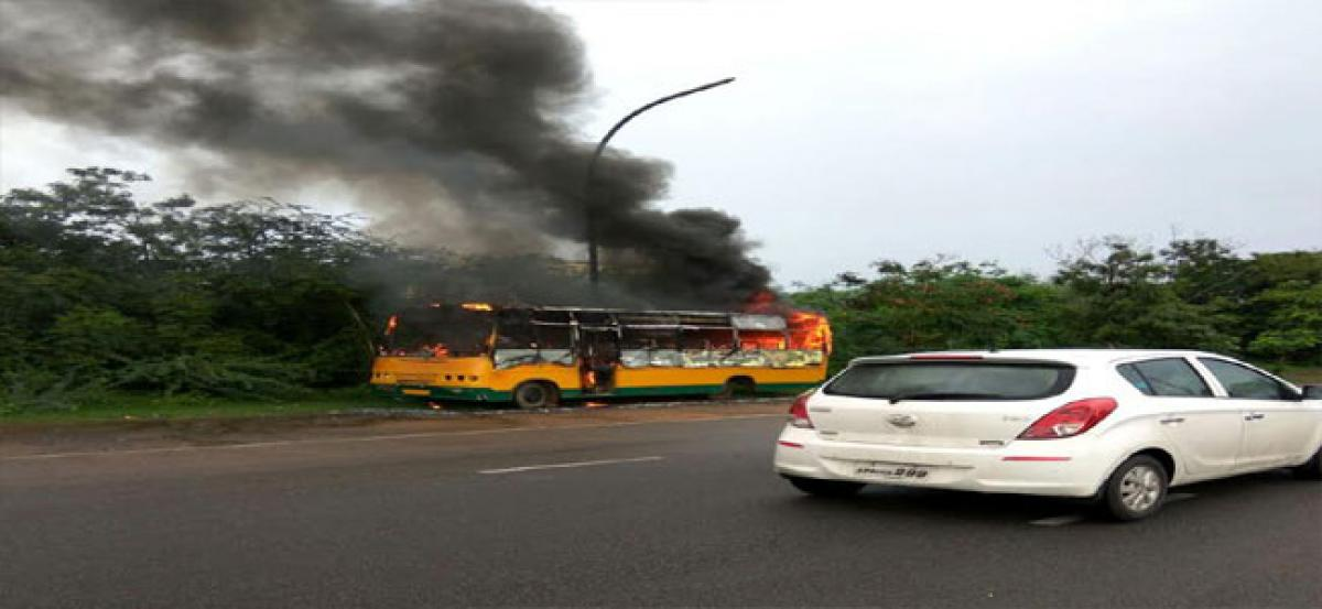 Bus engulfed in flames in Visakhapatnam