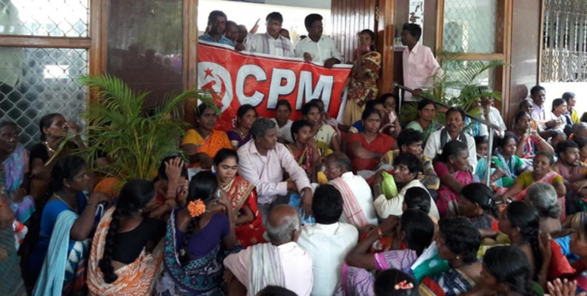 Tribals demand patta for podu lands, gave representation to Kothagudem Collector