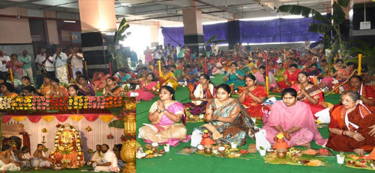 Thousands of women worship at Durga temple