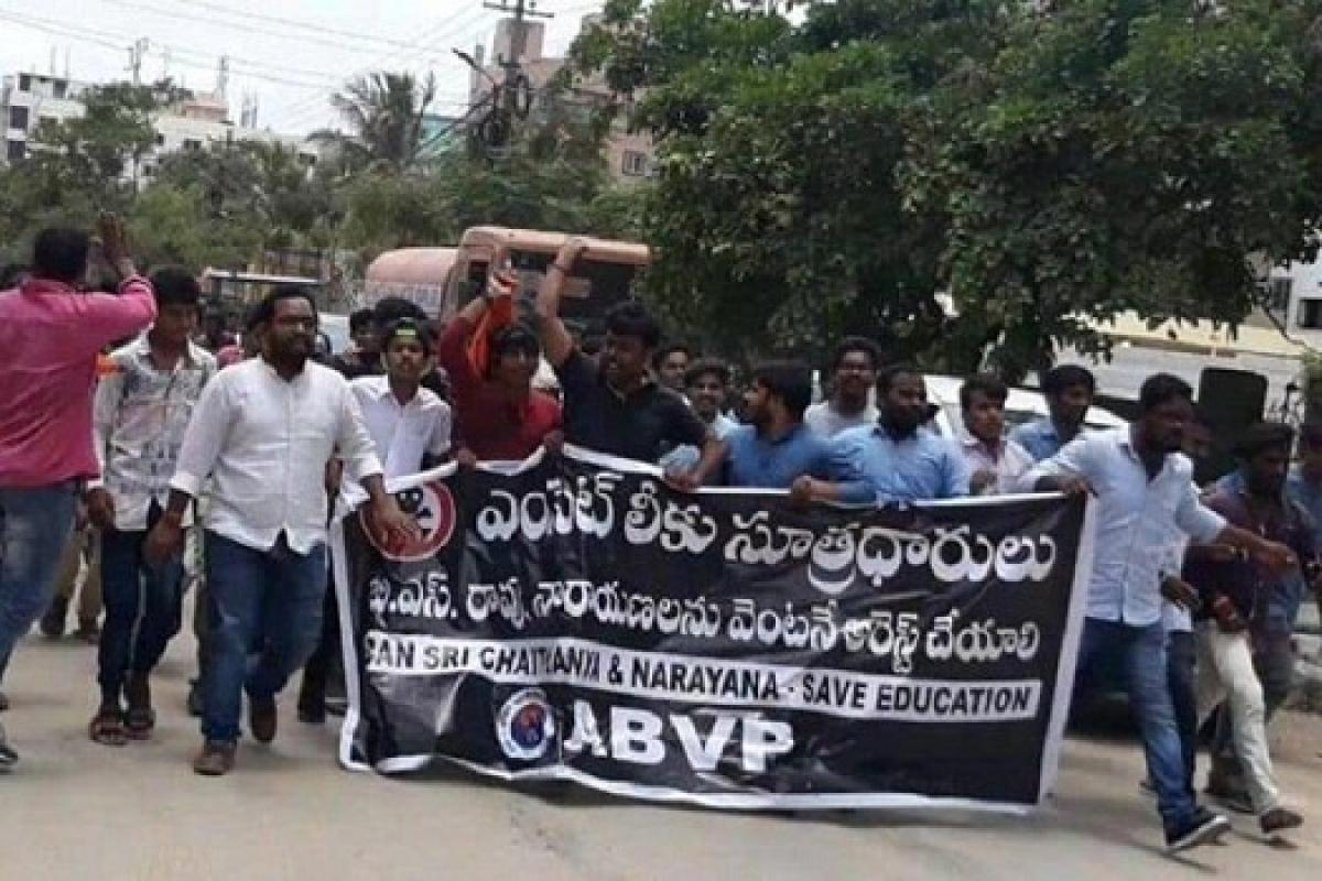 EAMCET leak: ABVP stages protest demanding ban on Narayana and Sri Chaitanya institutions