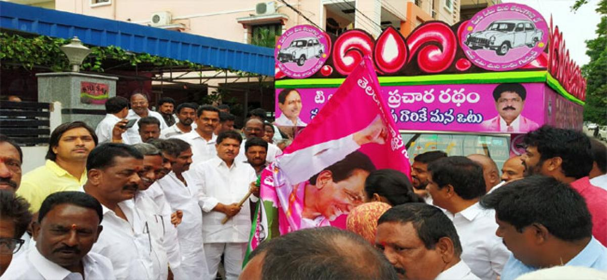 Madhavaram flags off election campaign vehicles