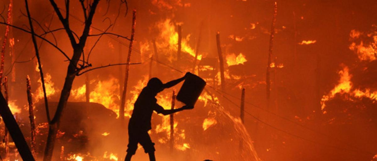 Fire accident in Agarbatti factory godown in Pahadi Shareef
