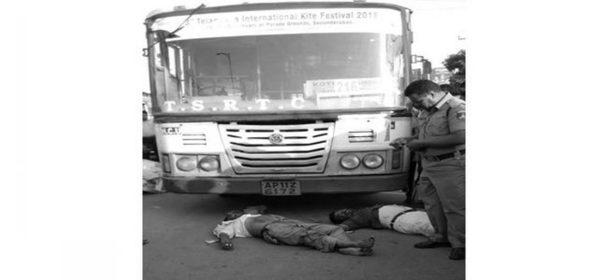 Hyderabad: 3 Killed after being hit by TSRTC bus at Gachibowli