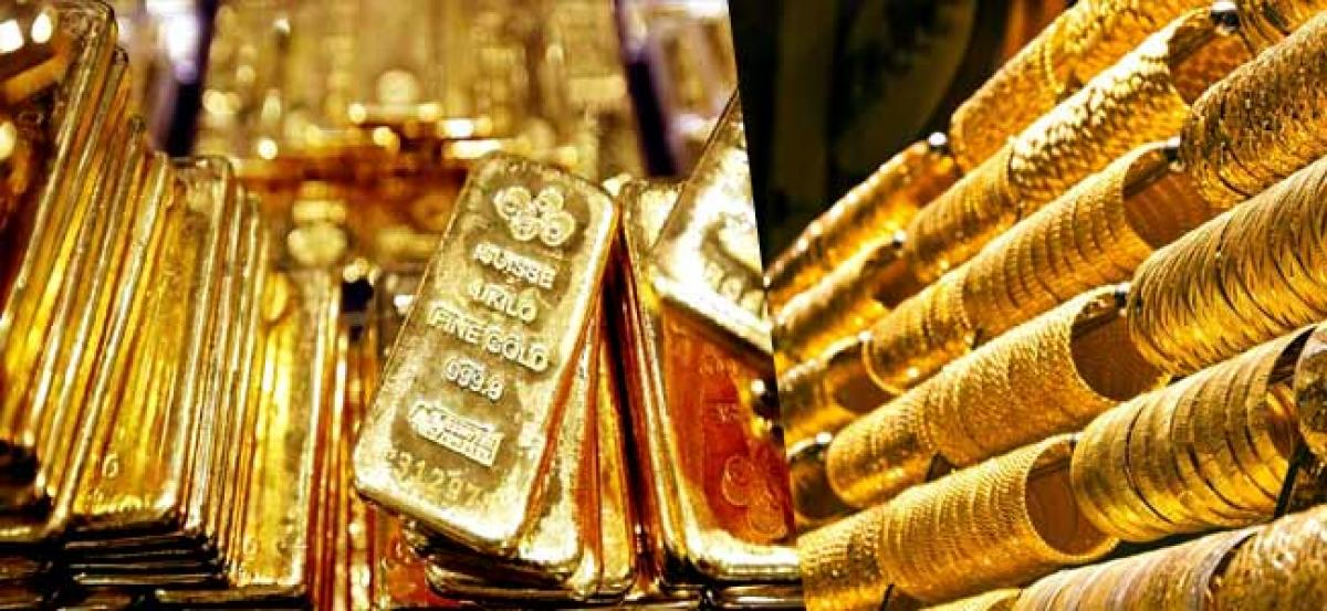 Gold futures decline Rs 145 on profit-booking, global cues