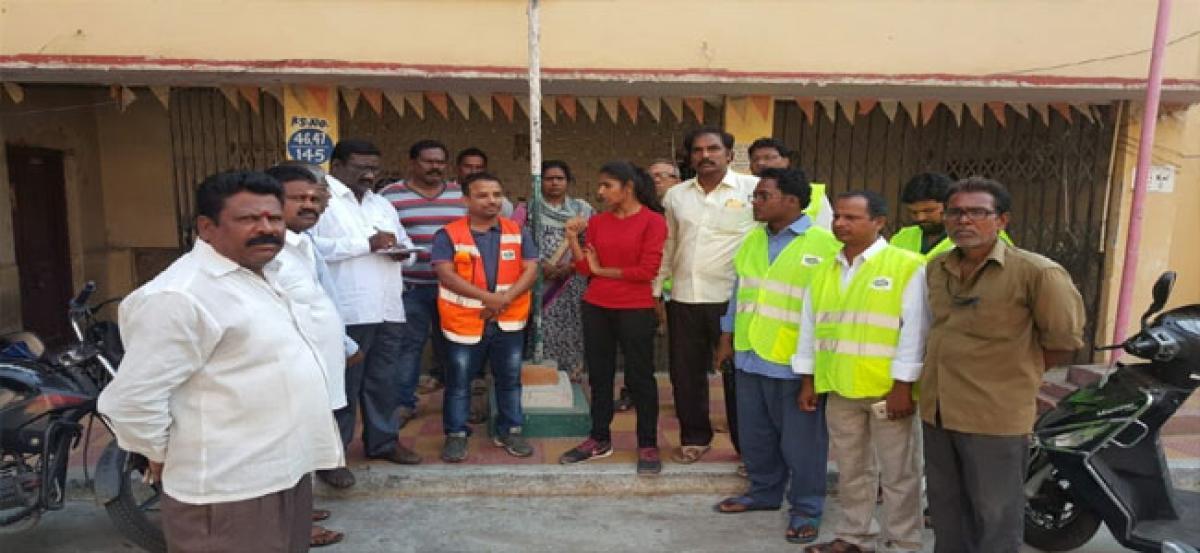 Corporator Hema reviews sanitation works