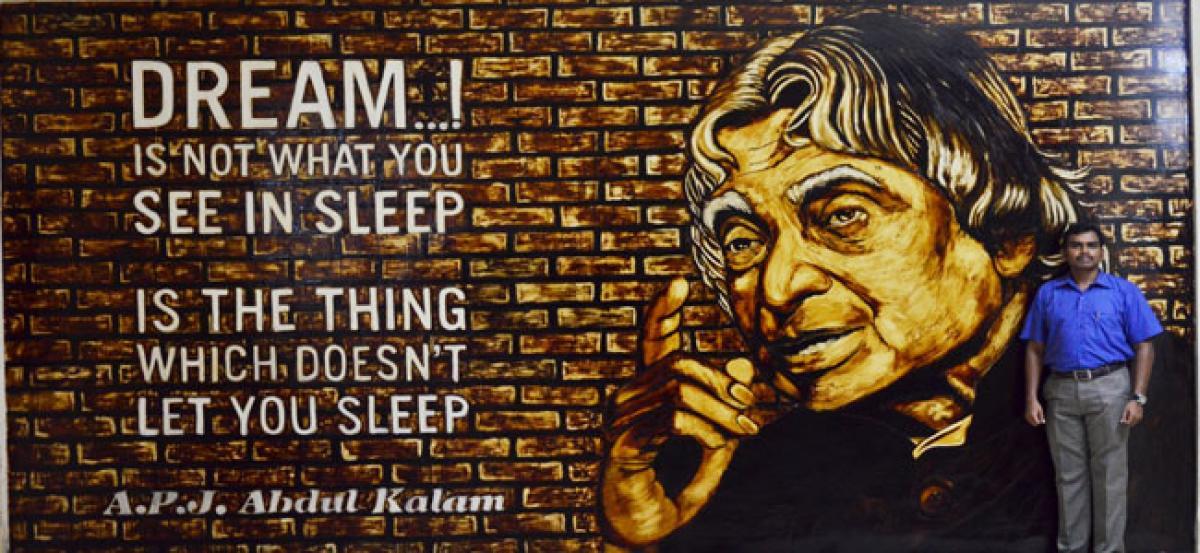 Coffee portrait of Abdul Kalam