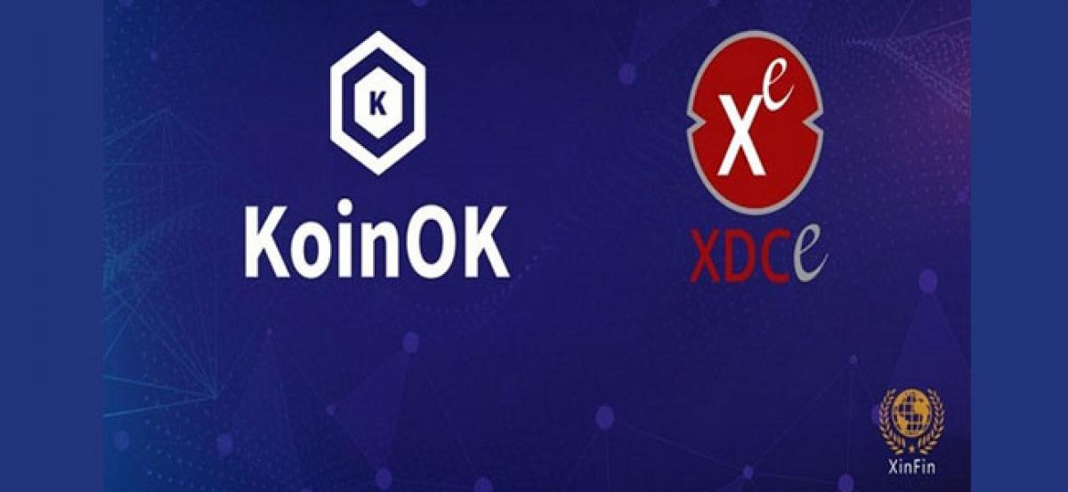XinFin ties up with KoinOK.com, gets its Utility Token XDCE listed on One of India