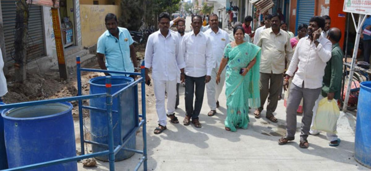 CC road works inspected by Corporator M Lakshmi Bai