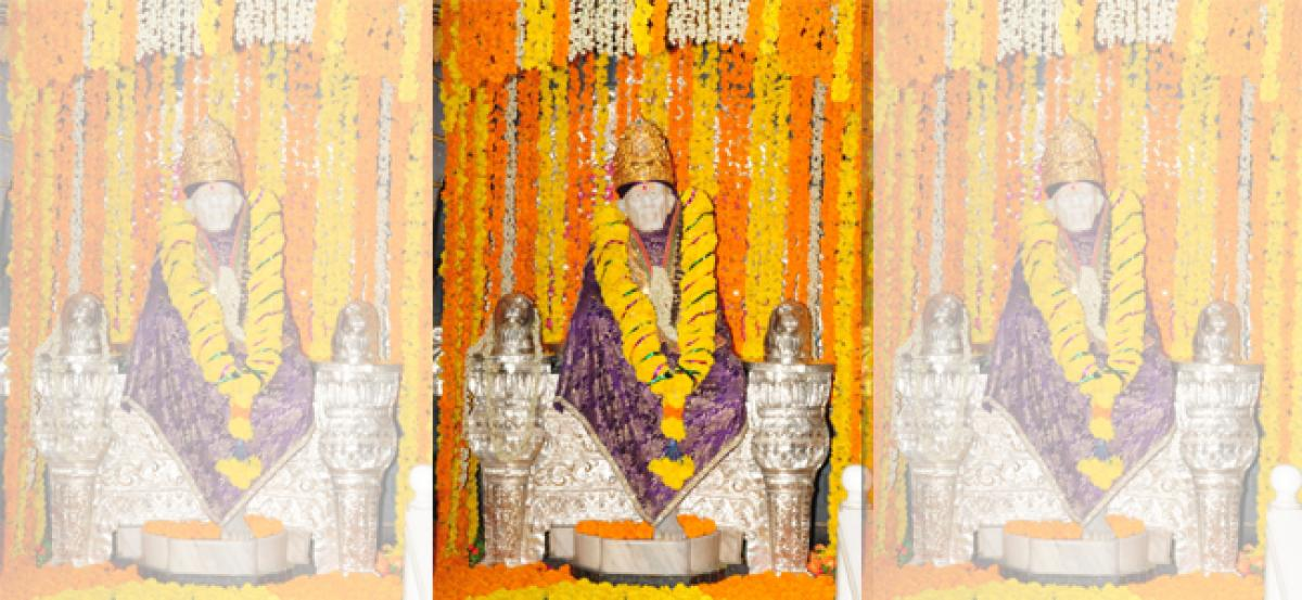 Sai Baba decorated with golden crown in Bhadrachalam