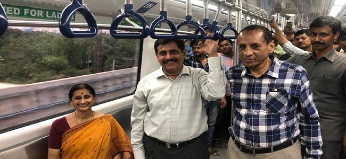 Governor Narasimhan takes a surprise ride on Hyderabad Metro