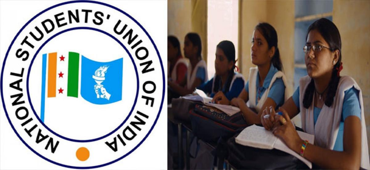 National Students Union of India highlights plight of govt schools, hostels