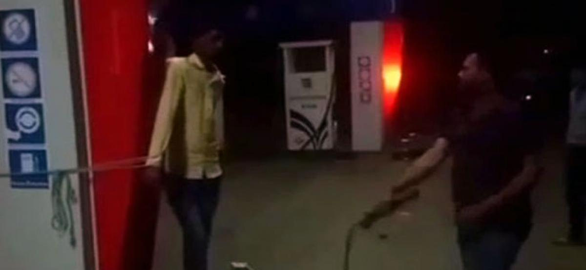 MP shocker: Petrol pump owner whips employee for being absent