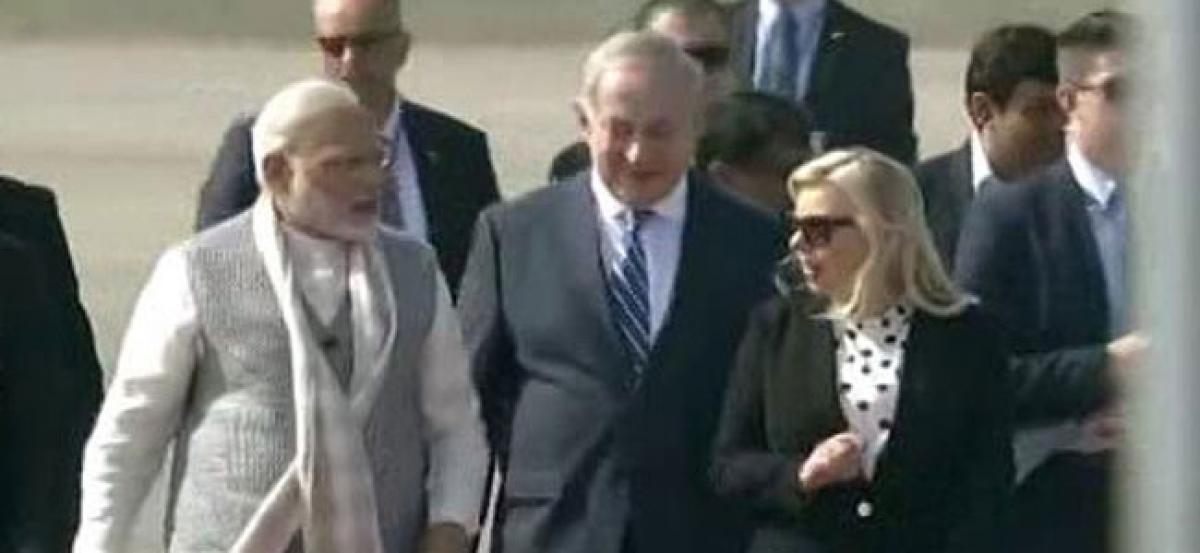 PM Modi, Netanyahu in Ahmedabad for road show, iCreate Center inauguration