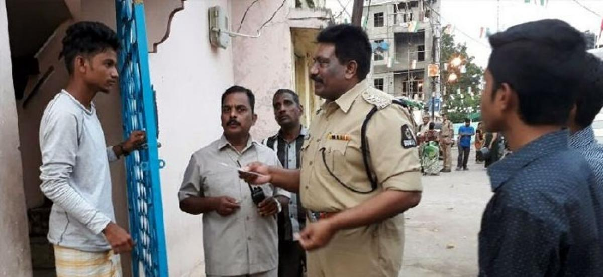 Police conduct cordon and search operation in Hyderabad