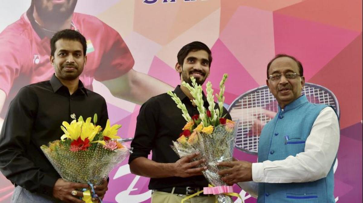 Kidambi Srikanth and Pullela Gopichand felicitated