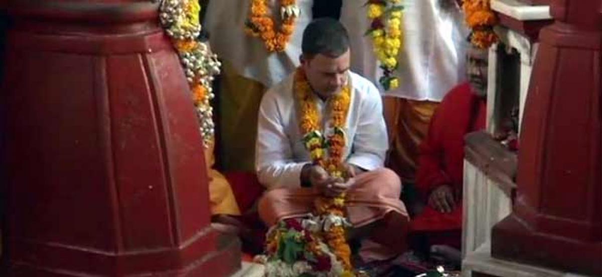 Rahul Gandhi begins Madhya Pradesh tour, offers prayers at temple