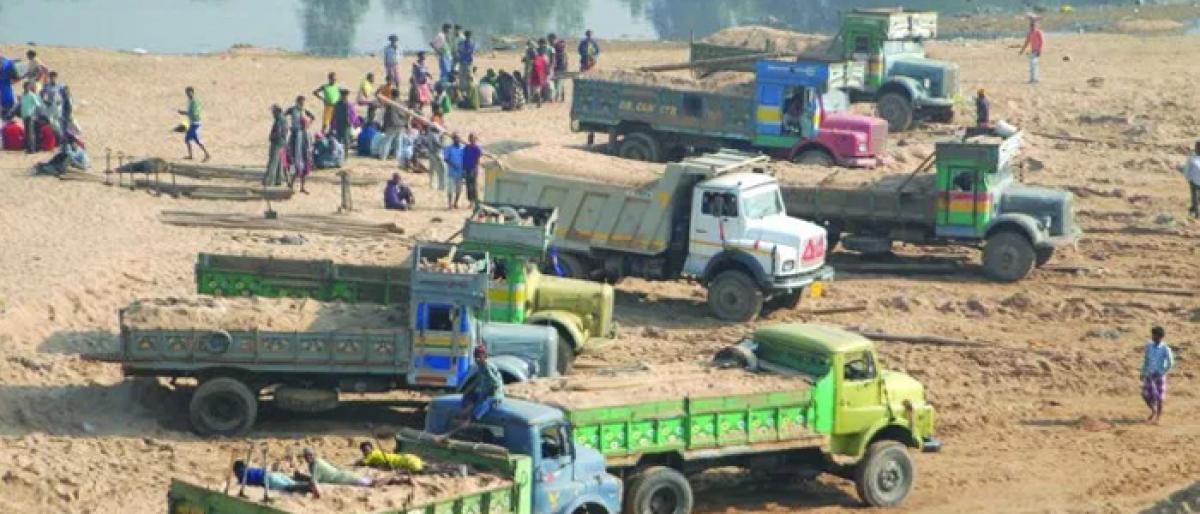 Vigilance officials seized illegal sand mining vehicles
