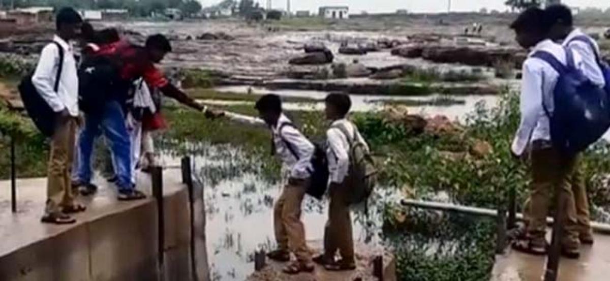 Madhya Pradesh: Bridge construction delayed, students cross rivulet to school