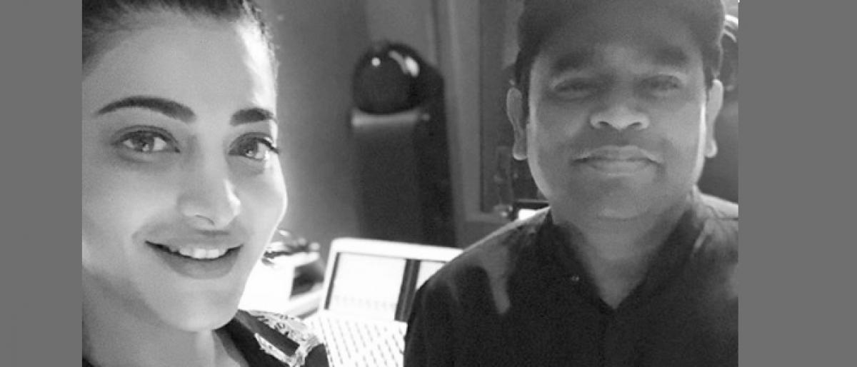 Shruti Haasan meets Rahman at his LA studio