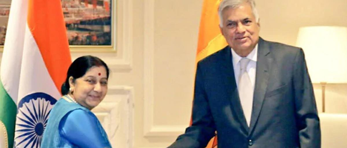 Sushma Swaraj calls on Sri Lankan PM Ranil Wickremesinghe