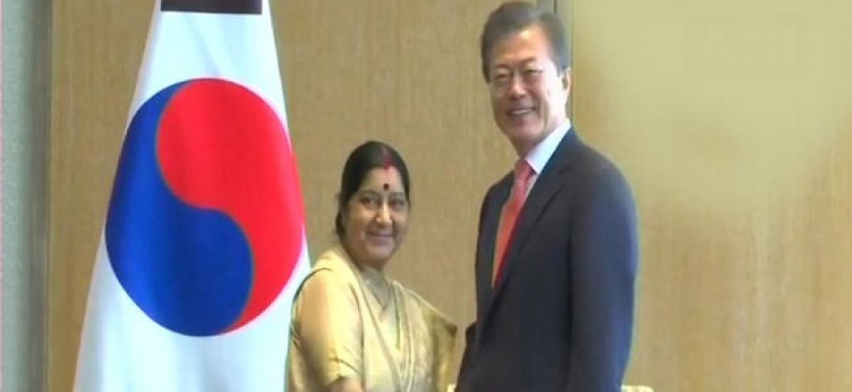 Swaraj meets South Korean President Moon Jae-in