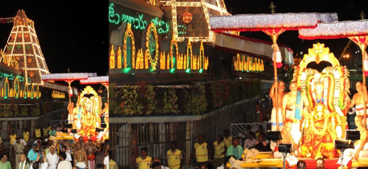 Lord rides on Hanuman vahanam