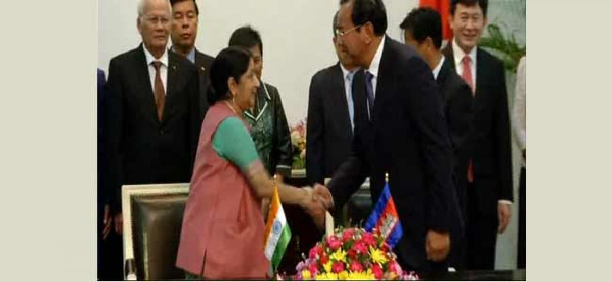 Swaraj holds bilateral talks with Cambodian counterpart