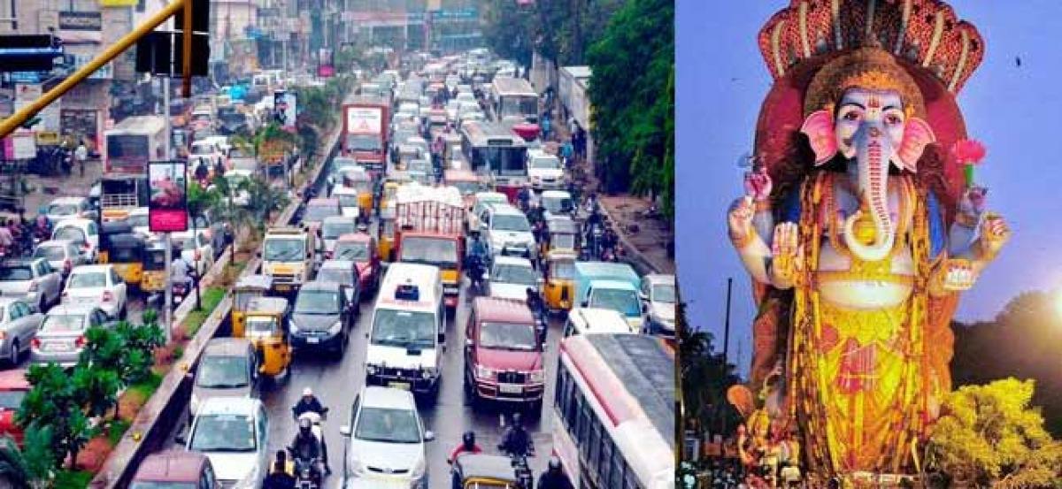 Ganesh immersion is continuing at Tankbund,traffic jam at Abids road