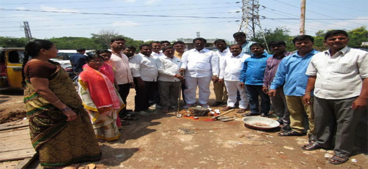 Pannala Devendar Reddy lays foundation for community hall